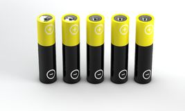 Five batteries on white background Stock Images