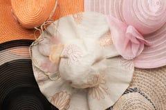 Five of beach hats, fashion Stock Image