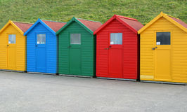 Five Beach Huts Stock Image