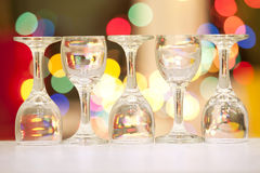 Five beautiful crystal goblets Royalty Free Stock Images