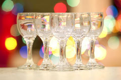 Five beautiful crystal goblets Stock Photography