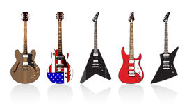 Five Beautiful Electric Guitars Royalty Free Stock Images
