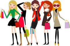 Five beautiful girls on a shopping vector illustration