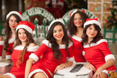 Five beautiful Santas Stock Photo
