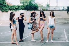 Five beautiful young girls Stock Image