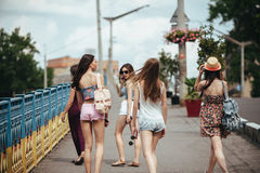 Five beautiful young girls Royalty Free Stock Image