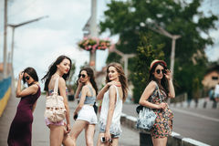 Five beautiful young girls Royalty Free Stock Photography