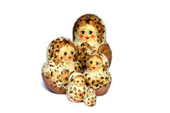 Five beige and brown matrioshkas Stock Photo