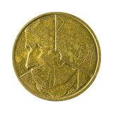 Five belgian franc coin 1986 isolated stock images