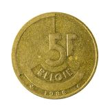 Five belgian franc coin 1986 isolated royalty free stock photography