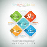 Five Bevel Color Box Infographic. Vector illustration of five bevel color box infographic element Royalty Free Stock Image