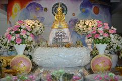 Five golden sitting buddha image and wall painting. At wat pha sorn kaew Thailand stock photos