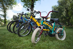 Five bicycles Stock Photos