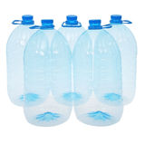 Five big bottles of water (Clipping path) Stock Photo