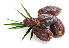 Five big date fruits. Close up view of some medjool date fruits with green leaf isolated on white background Stock Photos