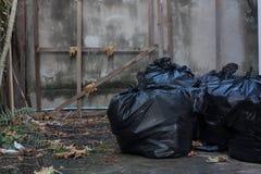 Five big garbage bags. Five big black garbage bags Stock Image