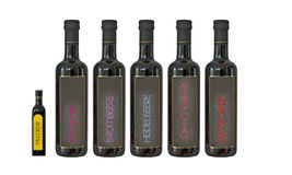 Five big and one small black bottle. With berry juice Stock Images