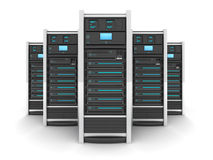 Five big server. Five Server high-end, view front (done in 3d stock illustration
