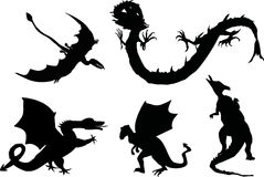 Five black dragons Stock Images