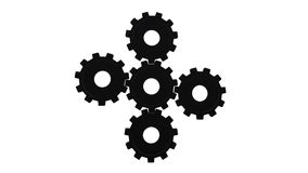Five black gears spinning flies . White background. Alpha channel stock illustration