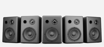 Free Five Black Music Speakers In A Row On A White Background. Concert Music Speakers For Your Design. 3d Rendering Royalty Free Stock Photo - 217984605