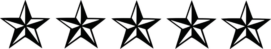Five black nautic stars. Symbol Stock Images