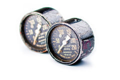 Five black old gauge Royalty Free Stock Photography