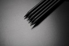Five black pencils Royalty Free Stock Image