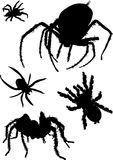 Five Black Spider Silhouettes Royalty Free Stock Photography