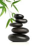 Five Black Stones and Bamboo Stock Photography