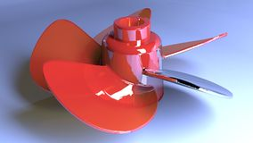 Five-blades propeller. A red five-blades propeller on a blue desk Stock Photos