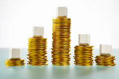 Five blank block over mountain shape gold coins Royalty Free Stock Photography