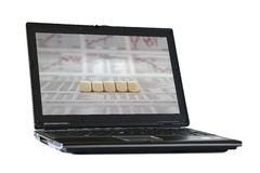 Five blank cubes on the laptop screen Royalty Free Stock Photo