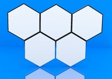 Five blank hexagon box display Royalty Free Stock Photos