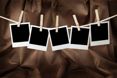 Five blank instant photos Royalty Free Stock Photography