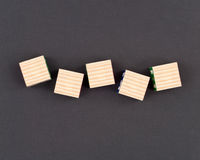 Five Blank Wooden Blocks Stock Image