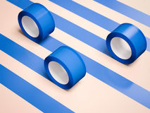 Five blue adhesive tapes. 3d rendering Stock Photos