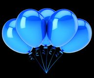 Five blue balloons 5 birthday party decoration blank. Helium balloon bunch. celebration, anniversary invitation design element. 3d illustration. isolated on Royalty Free Stock Images