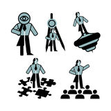 Five blue-black neutral business icons of the personal qualities of the leader. Signs symbolize a man and a woman who possess the qualities of a seeker of vector illustration