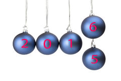 Five blue christmas balls with new year Royalty Free Stock Image