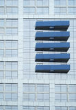 Five Blue Ornamentations. The Building in the picture is Radisson Hotel Pudong Century Park in Shanghai, China, feature by five blue ornamentations outside Royalty Free Stock Images