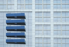 Five Blue Ornamentations in Horizon. The Building in the picture is Radisson Hotel Pudong Century Park in Shanghai, China, feature by five blue ornamentations Stock Photo