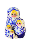 Five blue painted Russian matryoshkas Royalty Free Stock Photo