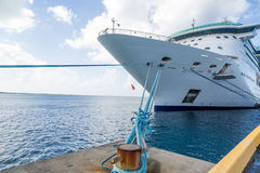 Five Blue Ropes to Cruise Ship. In St Croix Stock Photography