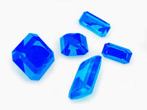 Five Blue Sapphire on White Royalty Free Stock Image