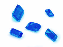 Five Blue Sapphire on a White Background Stock Photo