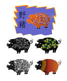 Five boars with a combined pattern Royalty Free Stock Photos