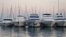 Five boats in the harbour, Split, Croatia royalty free stock image