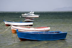 Five boats in the port Royalty Free Stock Photo