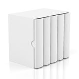 Five books in cardboard box cover on white. Group of blank books in cardboard box cover isolated on white background vector illustration